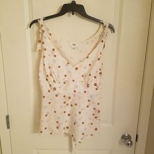 3/$18 Cato Woman Cream Colored Polka Dot Top